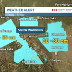"""""""@CBCWeather: Updated: Snowfall amounts for Central Alberta 20 - 30 cm by Friday. #bcstorm #abstorm #cbc http://t.co/2HM7aMJqRC"""" #yegwx"""