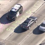 What we couldnt show you on TV. Protesters wrote this on the SB101 fwy before CHP showed up. #Ferguson http://t.co/OfSjbbdfTy
