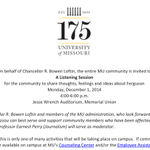 "Another sign #Mizzou Chancellor R. Bowen Loftin ""gets it""-- Loftin is hosting a Listening Session on campus Monday. http://t.co/oxADrLNVmG"