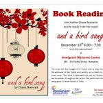 Book reading at #cvims Dec10 @ 6pm with author @DianeBestwick01 #nanaimo. Call or email to reserve a seat. http://t.co/2yp5WKZSiv