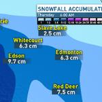 Snowfall amounts by morning...... #yeg #AB #CBC http://t.co/sfr4HJYLb0