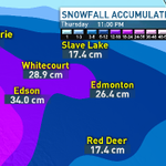 Snowfall amounts by end of day tomorrow....#yeg #AB #CBC http://t.co/0JCfce4L10