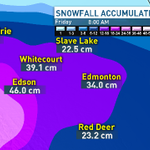 Should be done with the snow by Fri morning. This is how much we could be looking @ for grand totals....#yeg #CBC #AB http://t.co/0krnVPUZT4