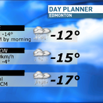 Temps will fall through the day tmr. Winds will also kick up creating blowing snow & reduced visibility. #yeg #CBC http://t.co/P24bQLpXFU