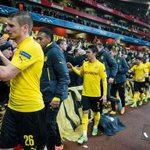 CLASS: Borussia Dortmund players thanking their fans for travelling to The Emirates, despite the 2-0 defeat. http://t.co/TLONmXO3iM