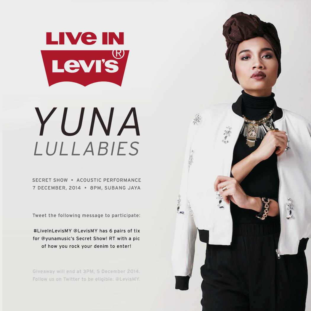 We have 6 pairs of tix for @yunamusic's Secret Show! Find out how to score passes: #LiveInLevisMY http://t.co/dcPtW2T7oE