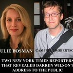 .@juliebosman & .@campbellnyt of @NYTimes have put Darren Wilsons life in danger by posting his personal address: http://t.co/A1JHDsBILx
