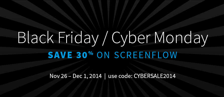 Starting today, 30% off ScreenFlow! Act now, ends Monday! http://t.co/VaymX26WBK http://t.co/h4gPQKhKae