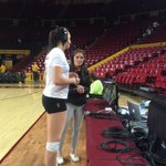 Whitney Follette with alum Stephanie Preach, chatting about the win over UCLA #wonthepoint #GoDevils http://t.co/XTfhRITUEB