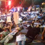 Crowd lays in street . Taking over #LosAngeles streets. #MichaelBrown @KTLA @KTLAnewsdesk @MicahKTLA @veraktla http://t.co/2d2TYyjyJo