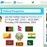 Tweet Chat #SAARC2014 on South Asian Politics. Today, 7pm NST (13.15GMT) wit @sushilshrma @DeepakAdk & @subhash580. http://t.co/piUSeGCO17