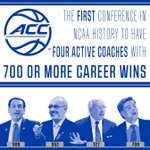 The #ACC is now the first conference in NCAA history to have 4 active coaches w/ 700 or more career wins. http://t.co/vEy1q0yoHo