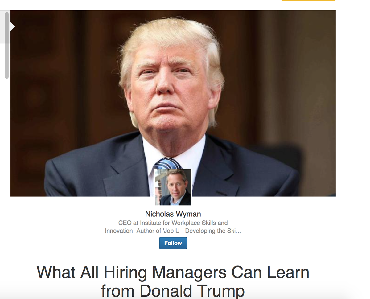 So What can All Hiring Managers Can Learn from Donald Trump ?https://t.co/wVbzI4PqWz #JobUBook http://t.co/pJctkz73p7