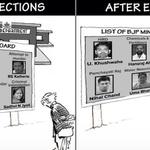 RK Laxman cartoon- BJP corrupt ministers.@AamAadmiParty @ArvindKejriwal @AapYogendra @kapsology @Ikumar7 @ankitlal http://t.co/iBLKDspdGY