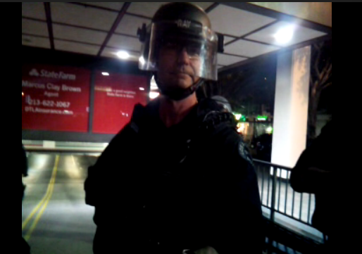 Here's the LAPD officer that just shoved @PMbeers while she was livestreaming the #Ferguson march. lol. http://t.co/rS3OhmeAy3