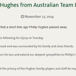 Statement On Phil Hughes From Australian Doctors #RIPPhilHughes http://t.co/4DUBn6krfZ