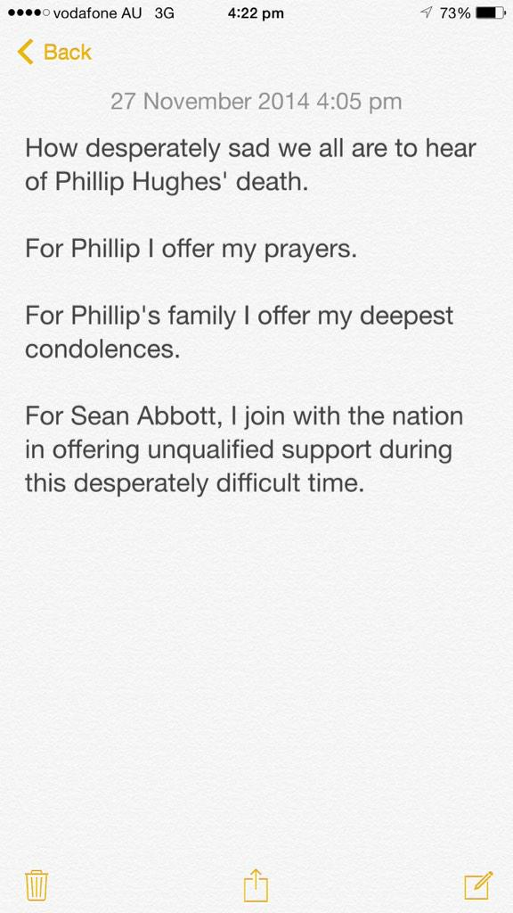 RIP Phillip Hughes. http://t.co/vAIZYM3vSD