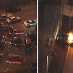 SIDESHOW UPDATE: A van tried to break through a fence and a separate car caught fire near the Port of Oakland. http://t.co/NhLdqc6kS1