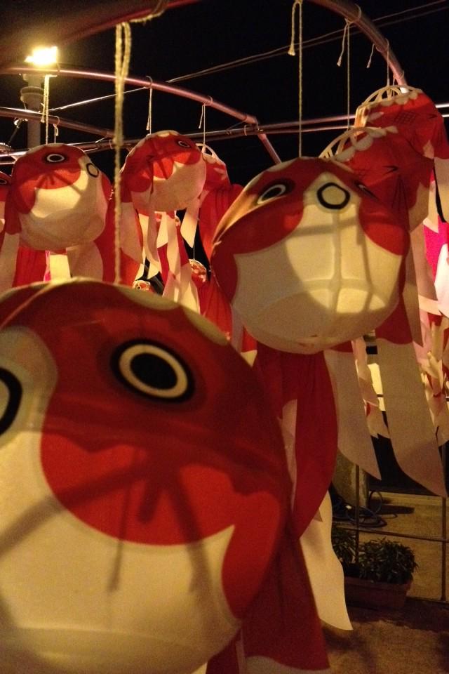 """わぁ(°w°)可愛い❤️""""@chikamori_toto: 彼らが金魚提灯です。 これは地元のお祭りの様子。 http://t.co/1Ta98atEHr"""""""