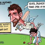 "This is a very powerful cartoon. #RIPPhilHughes ""Take care of Sean Abbott. http://t.co/IPiXRlBxBR"" (via @RobAKemp1966)"