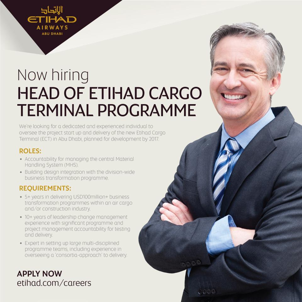APPLY HERE: to join our team in Abu Dhabi as Head of our new EtihadCargo terminal
