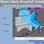 @NWSBoston Most Likely Snowfall Totals for Thursday-Friday. Slight chance of snow showers after 3PM for #Providence. http://t.co/8Ugm8crfrh