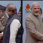 Kathmandu (Nepal): PM Narendra Modi shakes hands with Pakistan PM Nawaz Sharif #SAARC (Pic Source: Nepal TV) http://t.co/lT5iR6czjx