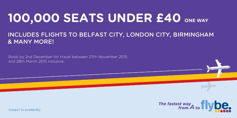 100,000 seats under £40! Take advantage of our low winter fares now!