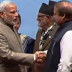 #SAARC : Indian PM @narendramodi and Nawaz Sharif today not only shook hands but also shared a hearty laugh. http://t.co/vRcS6s34us