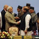 PM Shri @narendramodi and Pakistan PM Nawaz Sharif at the SAARC Summit. http://t.co/vs7rXfavkt