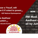 #6MonthsofBJPUTurns - BJP wanted to throw the Aadhaar cards in the dustbin, But Now they have Shri Modis blessings http://t.co/64GaqUilQD