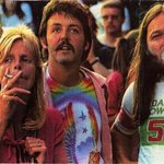 Linda McCartney, Paul McCartney and Pink Floyd's David Gilmour at a Led Zeppelin concert, 1970s http://t.co/ECXiDB05g0