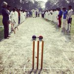 Two local cricket teams observe a moment of silence for Phillip Hughes before their match in Kolkata. #cricketfamily http://t.co/5qSDO1tlCK
