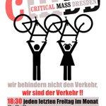 Morgen 18:30 startet die #CriticalMass. Es geht wieder gemeinsam rund 2h mit dem Fahrrad durch #Dresden. Sei dabei! http://t.co/5VbE3kBtfK