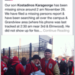 Ohio State football player Kosta Karageorge is missing, per his mother. Please spread. http://t.co/FTeaK4sVZf