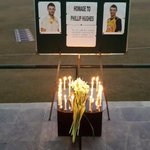 Players from UBL & NBP paying tribute to #PhilHughes in Islamabad. (pics via @SamaraAfzal & @KamiAkmal23) #RIPHughesy http://t.co/QUCvQ0vUHD