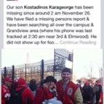 #OhioState football player Kosta Karageorge is missing, per his mother. Please spread the word http://t.co/mfDpxVW7Xx http://t.co/pYqJc5C0Rq
