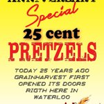 only 25 cents for a PRETZEL today at our Waterloo location, we didnt even sell them that cheap 25 years ago http://t.co/KXAsHpyjt3
