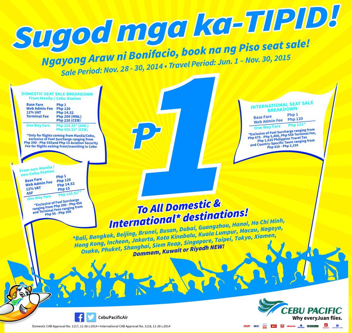 Sugod mga ka-TIPID! Ngayong Araw ni Bonifacio, book na ng Piso CEBseatSale!