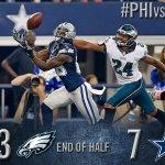 HALFTIME: Dallas Cowboys 7, Philadelphia Eagles 23 http://t.co/MaCrF2RenM http://t.co/uRbhcWXJrh