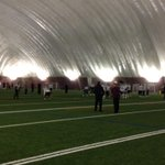 @McMasterSports moved inside to stinger dome for day 2 of prep for Vanier Cup. #gomacgo #Vanier50 http://t.co/1M6NbAFp0f