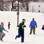 Friends dont let the snow stop their long-standing Thanksgiving Day tradition at Crompton Park #Worcester http://t.co/4N0a8vmsaU