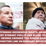 Grand Chief Stewart Phillip and elder Taah Amy George arrested on #BurnabyMountain: http://t.co/zwRzZTVHnc #cdnpoli http://t.co/1BhflyH8LH