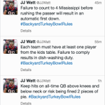 You better follow J.J. Watts #BackyardTurkeyBowlRules or else youll be relegated to dish-washing duty http://t.co/aYDNz3IlsH