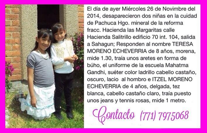 mariana echeverria o (@marianaecheve): Con su ayuda será más fácil encontrar a mis sobrinas GRACIAS a todos por sus RT .., cualquier información servirá http://t.co/QWEFzV3F85