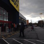 Line at Best Buy in Greensboro wraps all around the building. @WFMY http://t.co/b76SfLHd9P