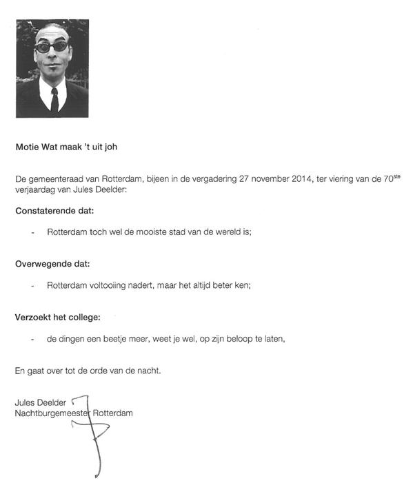 Wie had dat ooit kunnen bedenken in 1970 #JulesDeelder ©vm Leve de Nachtburgemeester @rotterdam http://t.co/HM842uirDh