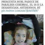 RT La pequeña Rubí tiene parálisis cerebral. La quieren desahuciar y a su familia el 16 dic. #StopDesahucios #Rubi http://t.co/6n4PLvSwtz