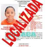 #NotiAhora Alerta Amber se desactiva ante la localización de la menor Diana Marely Pucheta González. @AAMBER_oaxaca http://t.co/4knE1IoZC0
