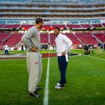 Tonights quarterbacks meet at midfield during pregame warmups. #Thanksgiving #SEAvSF http://t.co/EJsurw2pOE